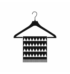 Scarf on coat-hanger black simple icon vector