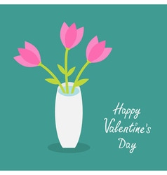 Happy valentines day love card bouquet of pink vector