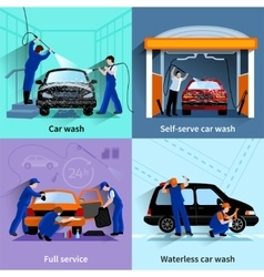 Car wash service 4 flat icons vector