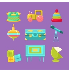 Kids room objects collection vector