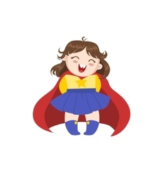 Girl dressed as superhero with red cape vector