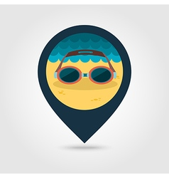 Swimming goggles pin map icon summer vacation vector