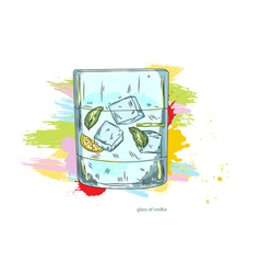 Glass of vodka vector