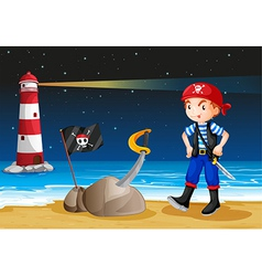A pirate near the lighthouse vector image vector image