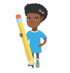 african kid girl standing with a huge pencil vector image