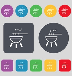 Barbecue icon sign a set of 12 colored buttons vector