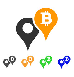 Bitcoin map markers icon vector