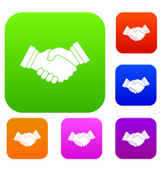 business handshake set collection vector image vector image
