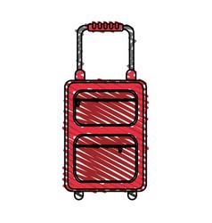Color crayon stripe travel suitcase with handle vector
