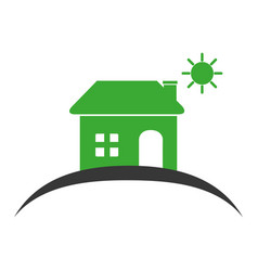 Colors silhouette of house with the sun on the vector