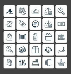 Commerce icons set collection of outgoing vector