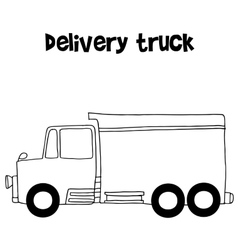 Delivery truck with hand draw vector