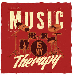Drums in music theme t-shirt label design vector