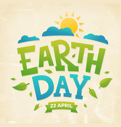 Earth day banner 22nd april sun with clouds and vector