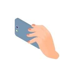 Female hand holding smart phone icon vector