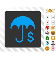 Financial umbrella blue icon with bonus vector