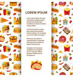 Flat poster or banner template with fastfood icons vector