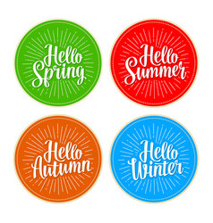 Four seasons stickers set hello winter spring vector
