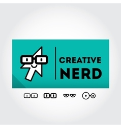 Funny nerd sign with glasses - design element vector
