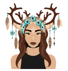 Girl with deer ears and vector
