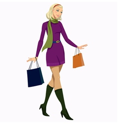 girl with shopping bags vector image