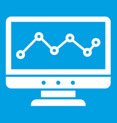 Graph in computer screen icon white vector