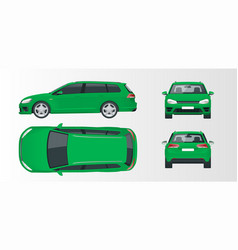 Green hatchback car compact hybrid vehicle vector
