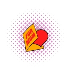 Greeting card with heart for mom icon comics style vector