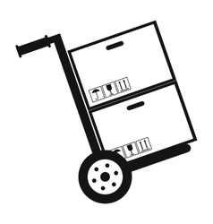 Hand cart with cardboard boxes black simple icon vector