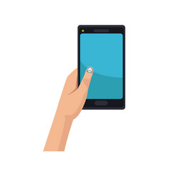 hand holding smartphone application digital vector image
