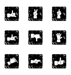Hand icons set grunge style vector