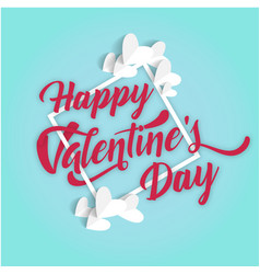 Happy valentines day square white heart blue backg vector