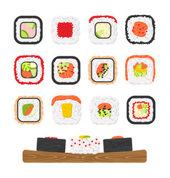 icon set of yummy colored sushi rolls vector image vector image