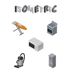 isometric appliance set of microwave cloth iron vector image vector image