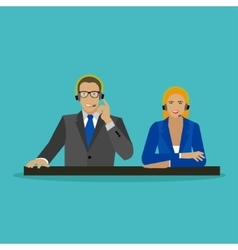 Male and female operators in call center concept vector image vector image