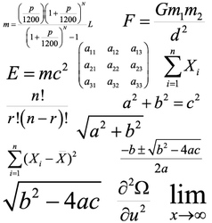 Mathematics and physics formulas and expressions vector