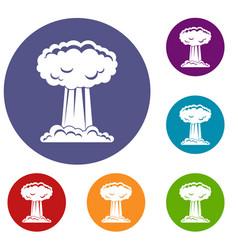 mushroom cloud icons set vector image