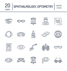ophthalmology eyes health care line icons vector image vector image