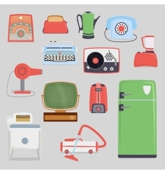 Retro vintage household appliances vector