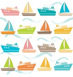 Seamless pattern with ships and waves vector image vector image