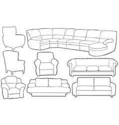 set of different couches vector image