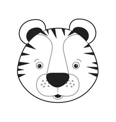 sketch silhouette monochrome caricature face tiger vector image vector image
