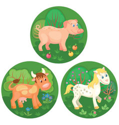 Three round banners with farm animals vector