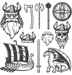 Vintage Viking Icon Set vector image