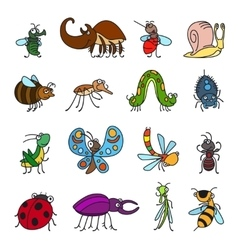 Funny insects and bugs vector