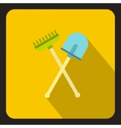 Shove and pitchfork icon flat style vector