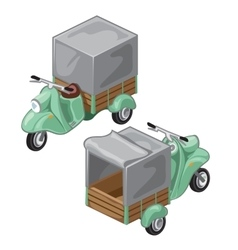Green scooter with gray tent transport vector