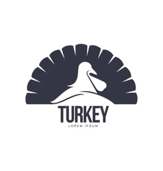 Stylized simplified turkey silhouette graphic logo vector image
