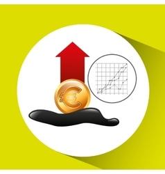 Euro increase oil industry growth diagram vector