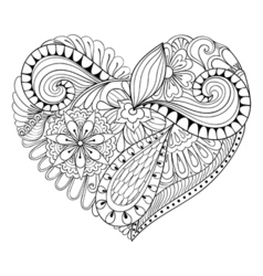 Artistic floral doodle heart in zentangle style vector
